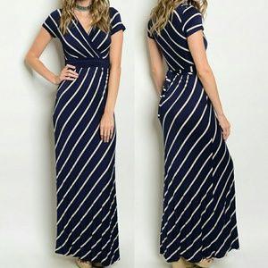 Dresses & Skirts - Navy/Biege Bias Striped Tie Waist Printed Dress